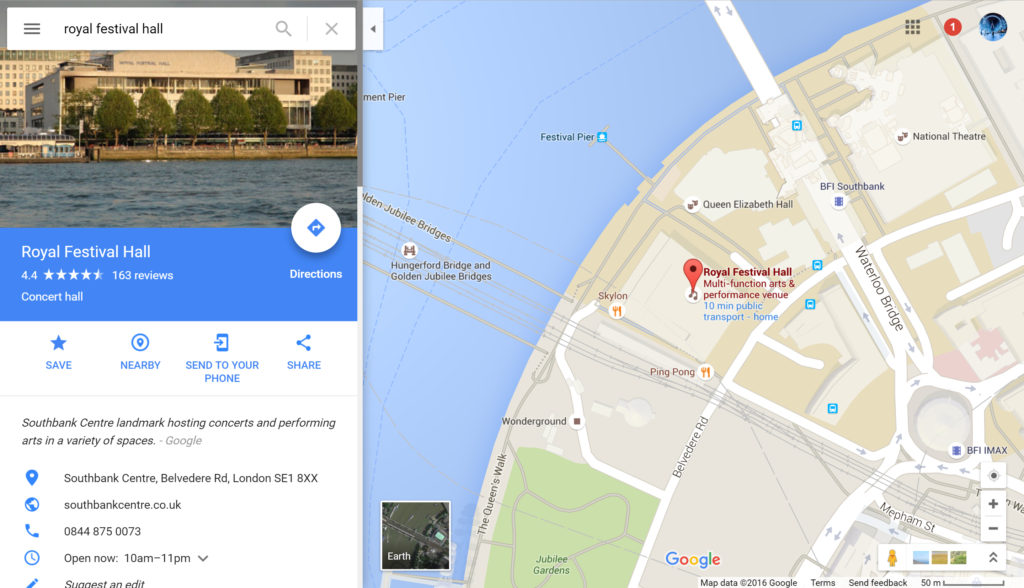 Google Maps - Royal Festival Hall